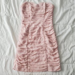 H&M Ruched Pink Strapless Dress